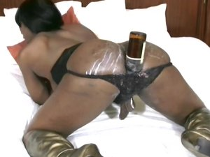 Ebony shemale with puffy nipples shoots cumload from bigcock
