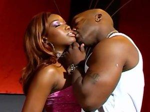 Ebony bitch loves to swallow a big load
