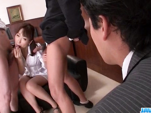 Nonoka Kaede, Asian milf, deals two younger cocks