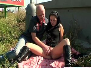 Nasty Brunette Teen Fucks Older Bald Guy in Public