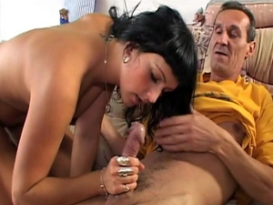 Sexy Brunette has a thing for older strangers.