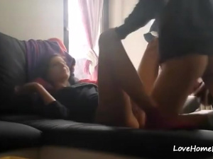 Ex girlfriend fucked on the sofa