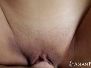 A horny dude films a steamy morning sex with a hot small tit Asian babe