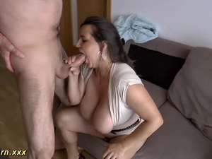 massive boob german gives hot titjob