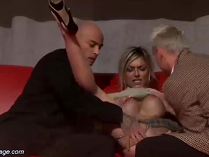 threesome fuck orgy on public stage
