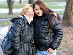 Old and young lesbians Frederica and Rashinda go naughty