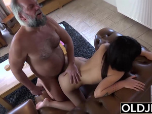 19 yo helps grandpa gave orgasm fucking him cum swallow