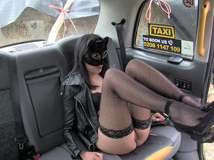 Horny hot babe Maya wears mask and asks Johns cock in the backseat