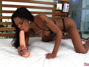 Ebony Shemale Lavinia Magalhaes Crams a Giant Dildo Up Her Asshole