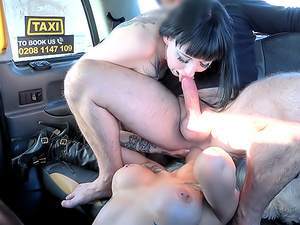 Taxi threesome with great rimming