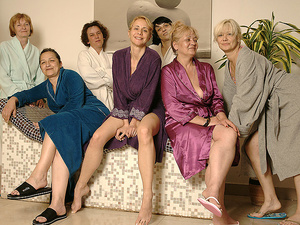 Mature women relaxing in a sauna