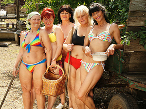 Five mature lesbians playing with eachother