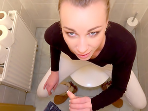 Multiple orgasms in public toilet