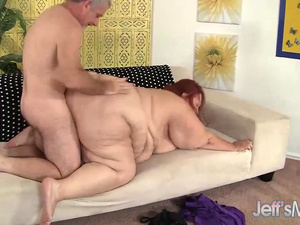 Huge BBW Sweet Cheeks Has a Thick Cock Stuffed in Her Cakehole and Cunt