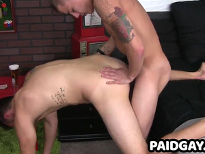 Teen twink gets cock sucked by straight hunk before anal