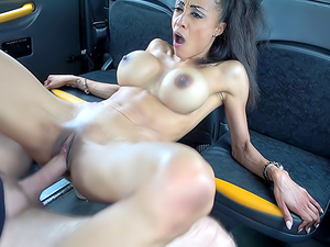 Tiny ebony with big tits has facial