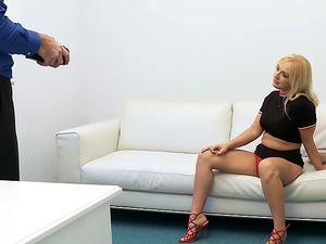 Shy blonde sucks cock in casting