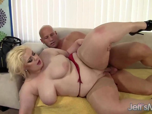 Blonde BBW Klaudia Kelly Uses Her Mouth and Pussy to Please a Bald Guy