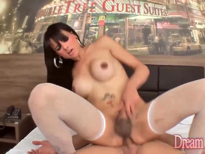 Cute Tgirl Gabrielly Dummond Trades BJs with BF Before Getting Drilled