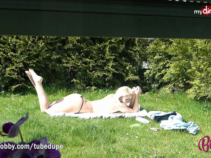 MyDirtyHobby - Amazing blonde teen sunbathing!
