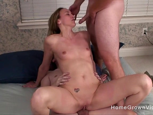 Amateur blonde has all of her holes stuffed at once
