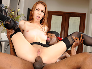 Redhead Jenna Justine Is One Tiny Anal Slut Craving a Creampie from BBC