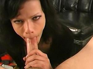 Slutty amateur with big tits sucking a hard cock