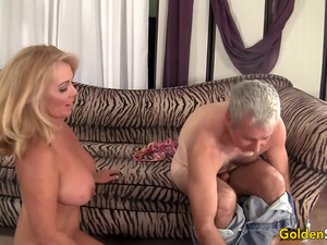 Busty Older Blonde Crystal Taylor Slides Her Pussy up and down a Hard Cock