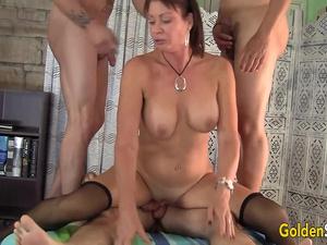 Older Cum Dumpster Vanessa Videl Passed Around Between Five Horny Guys