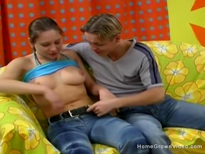 Amateur Russian slut gets fucked by two guys