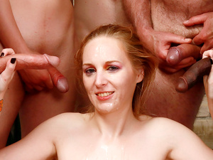 Five Men Take Turns Drilling Mature Delirious Hunter Through Every Hole