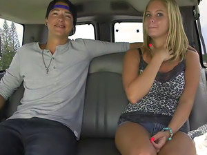 Blonde with big natural tits gets creampie on BangBus