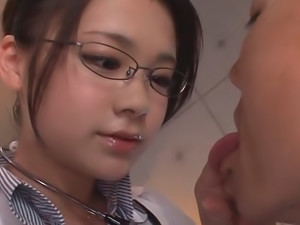 Sexy Teen Nurse Kana Tsuruta Licks All Over Her Patient