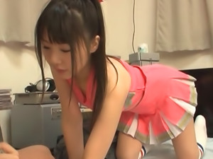 Teen Tsubomi Sucks Dick For Hot Cum In A Cheerleader Outfit