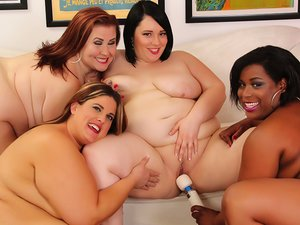Four plump leabians steaming hot sex