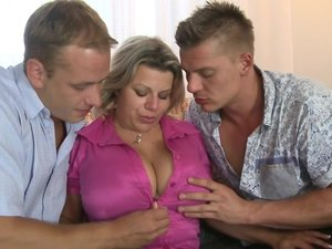 Big breasted housewife sucking and fucking in a threesome