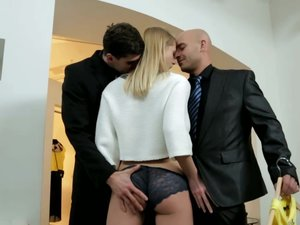 Horny Violette Has a Hardcore Threesome inside of a Dress Shop