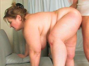 Big mama with big tits sucking and fucking