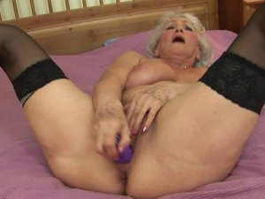 Look at granny getting wet and horny