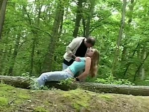 Busty babe tied in the woods and bdsm fucked