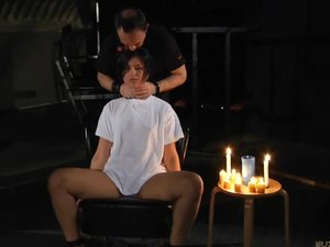Teen damsel restrained in a wooden yoke and played form behind