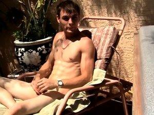 Hung Uncut Stroking In The Sun! - Adam Hess