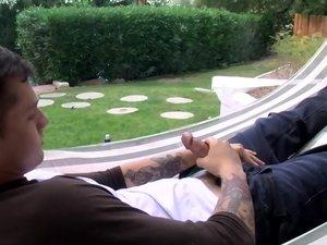 Chris Porter Splashes It Out - Chris Porter Piss & Stroke In A Hammock!
