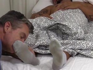 Tattooed Stud RJ Foot Worshiped In His Sleep - mff0574_rjworship