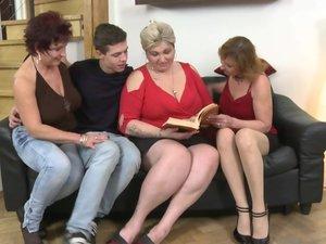 One lucky guy having funwith three mature sluts