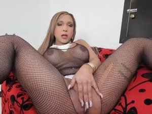 Irina Chanell loves stroking her transsexual shecock for the camera!