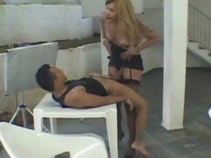 Paty and Diego tranny fucks boy action