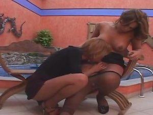 Marjorie Romao tranny screwing gal on video