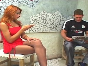 Bruna shemale pantyhose action